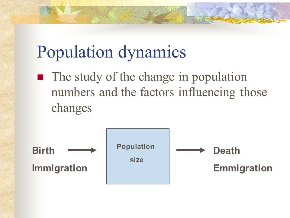 Population dynamics The study of the change in population numbers and the factors influencing those changes.
