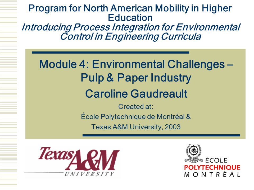 Module 4: Environmental Challenges – Pulp & Paper Industry