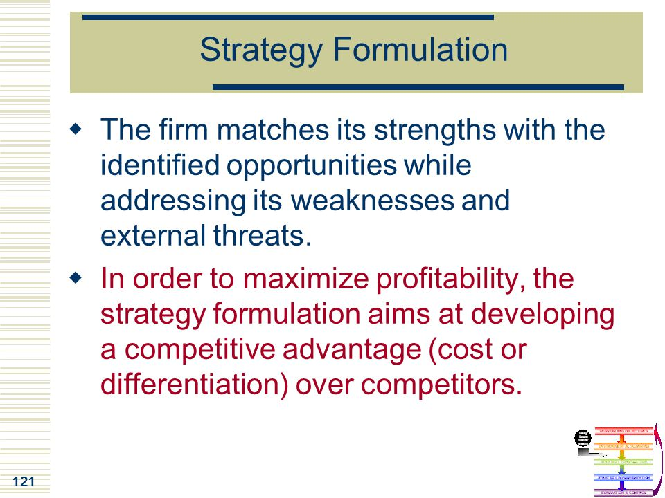Strategy Formulation The firm matches its strengths with the identified opportunities while addressing its weaknesses and external threats.