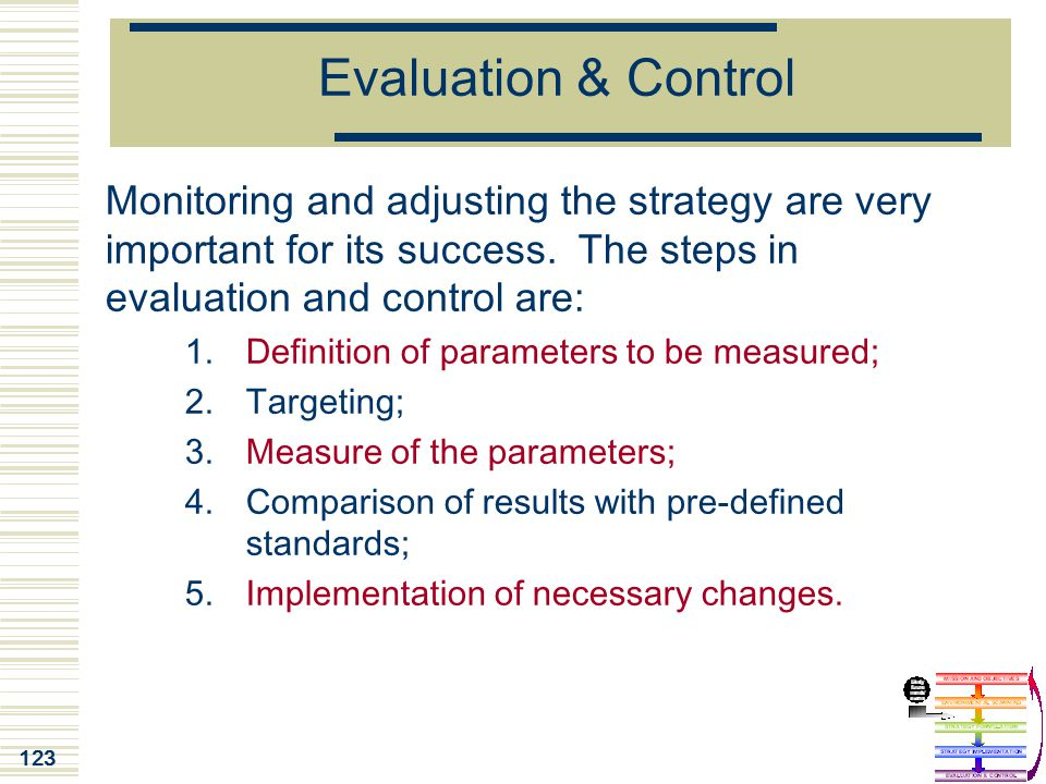 Evaluation & Control Monitoring and adjusting the strategy are very important for its success. The steps in evaluation and control are:
