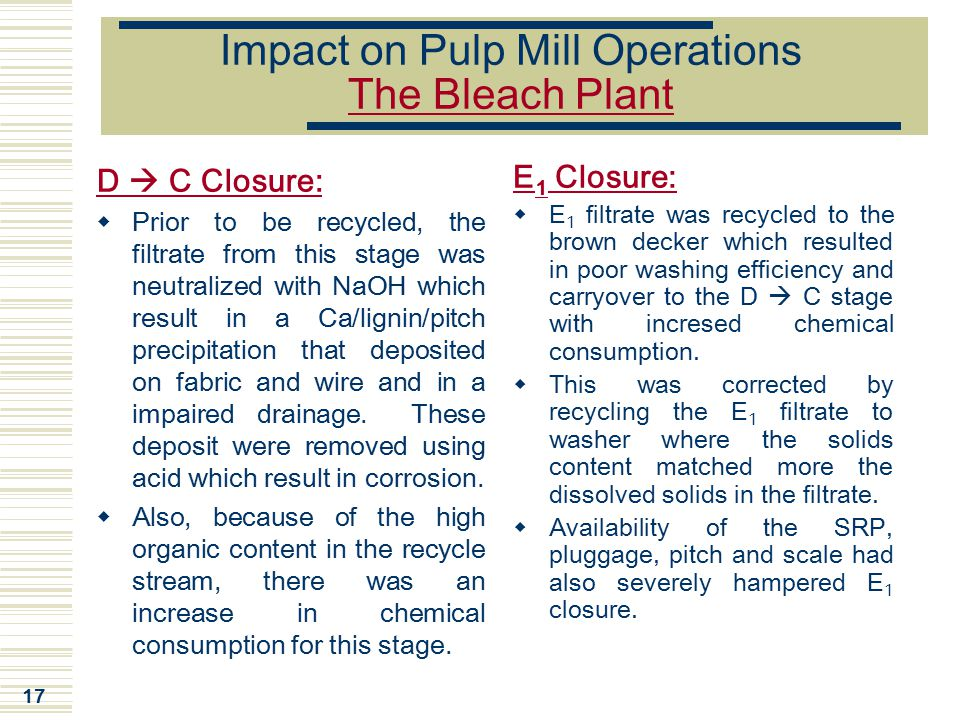Impact on Pulp Mill Operations The Bleach Plant