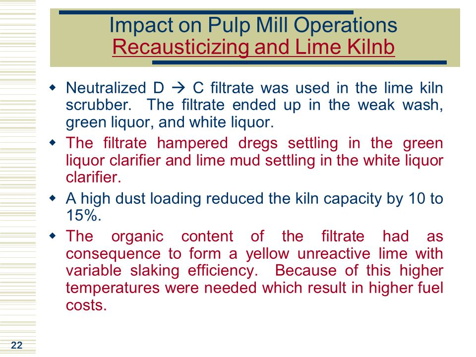 Impact on Pulp Mill Operations Recausticizing and Lime Kilnb