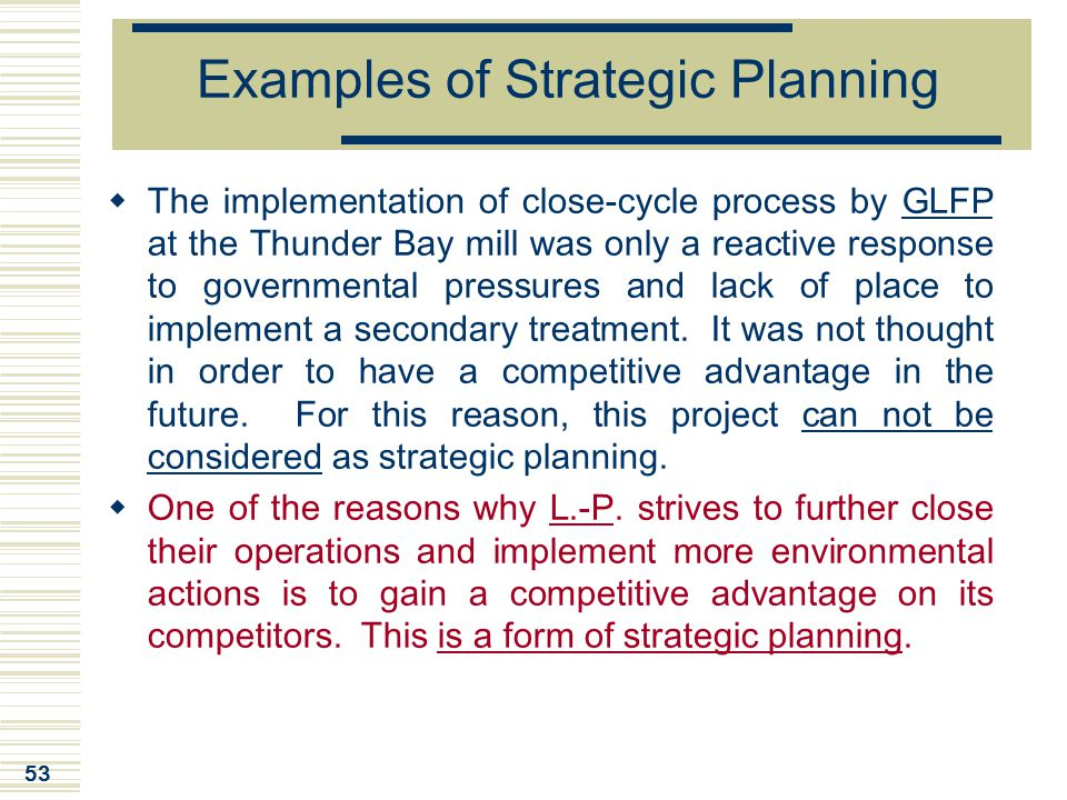 Examples of Strategic Planning