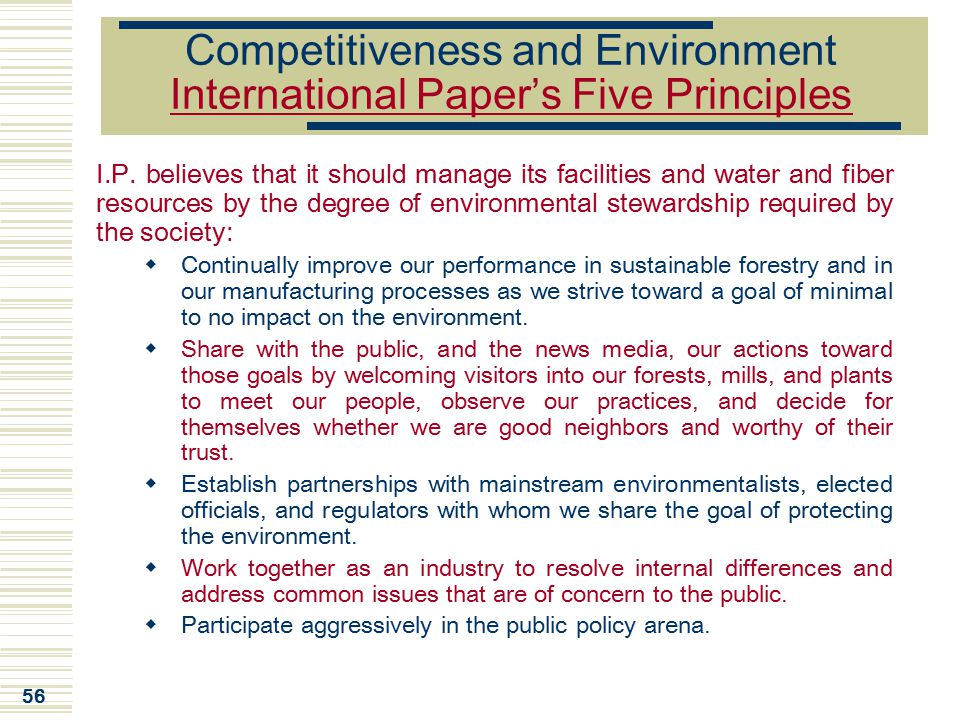 Competitiveness and Environment International Paper's Five Principles