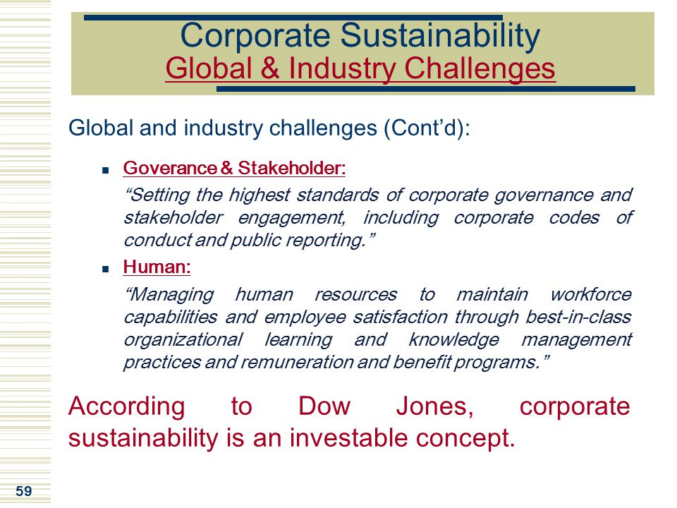 Corporate Sustainability Global & Industry Challenges