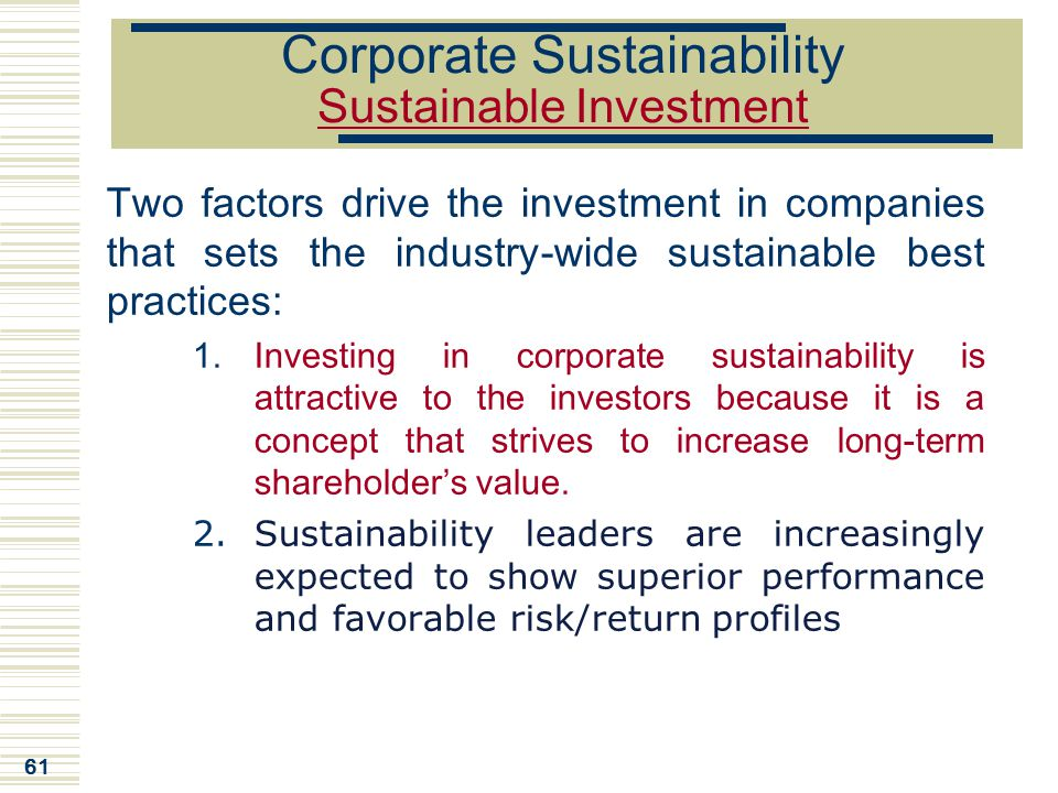 Corporate Sustainability Sustainable Investment