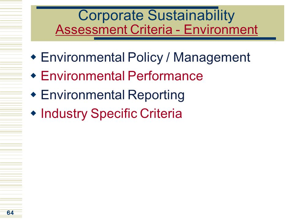 Corporate Sustainability Assessment Criteria - Environment