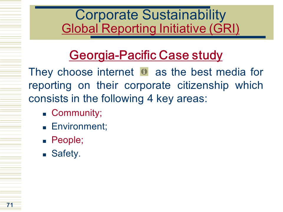 Corporate Sustainability Global Reporting Initiative (GRI)