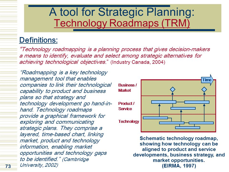 A tool for Strategic Planning: Technology Roadmaps (TRM)