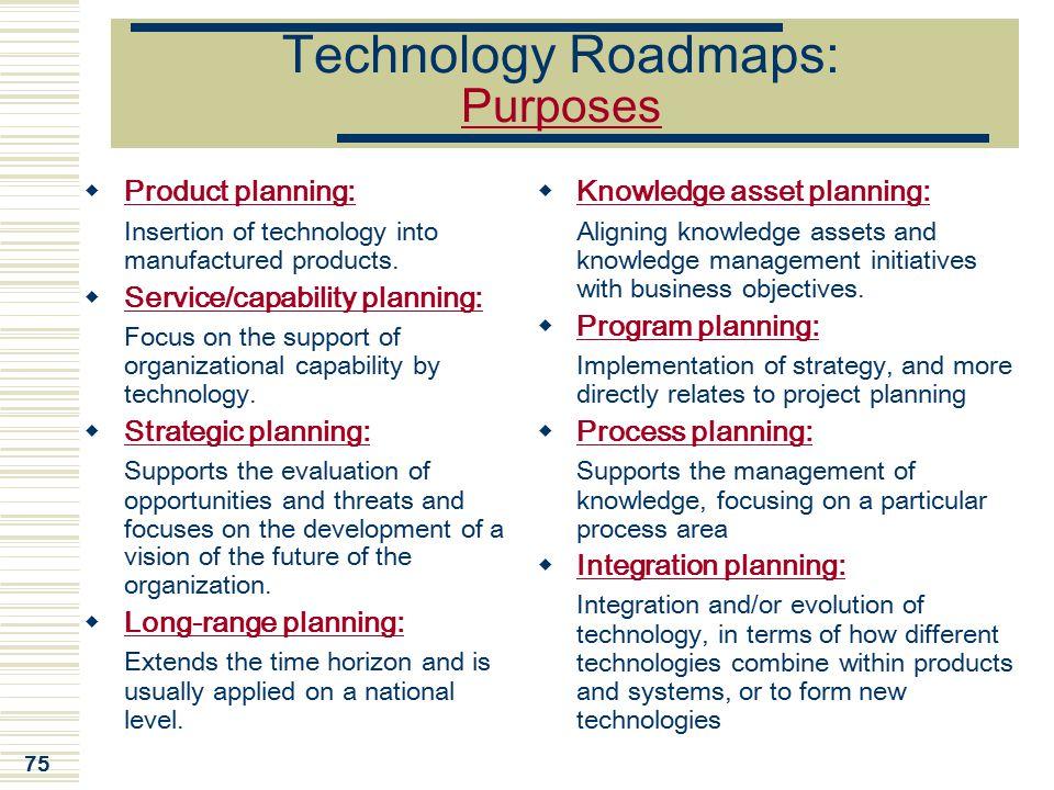 Technology Roadmaps: Purposes