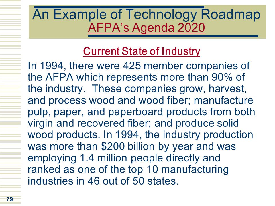 An Example of Technology Roadmap AFPA's Agenda 2020