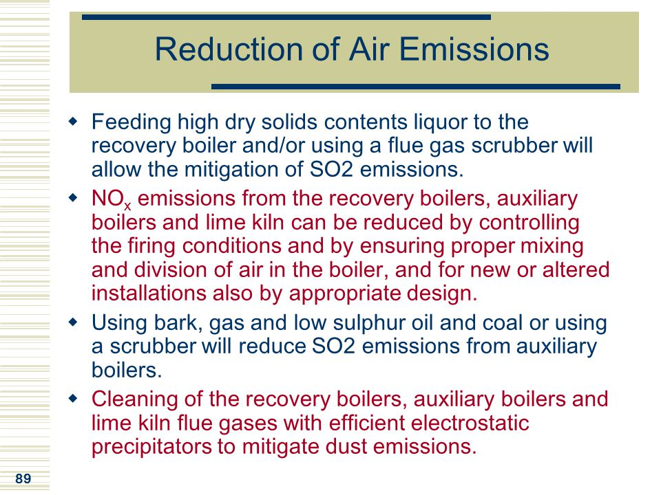 Reduction of Air Emissions