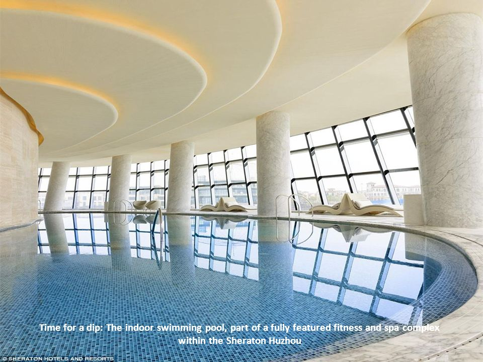Time for a dip: The indoor swimming pool, part of a fully featured fitness and spa complex within the Sheraton Huzhou on Facebook