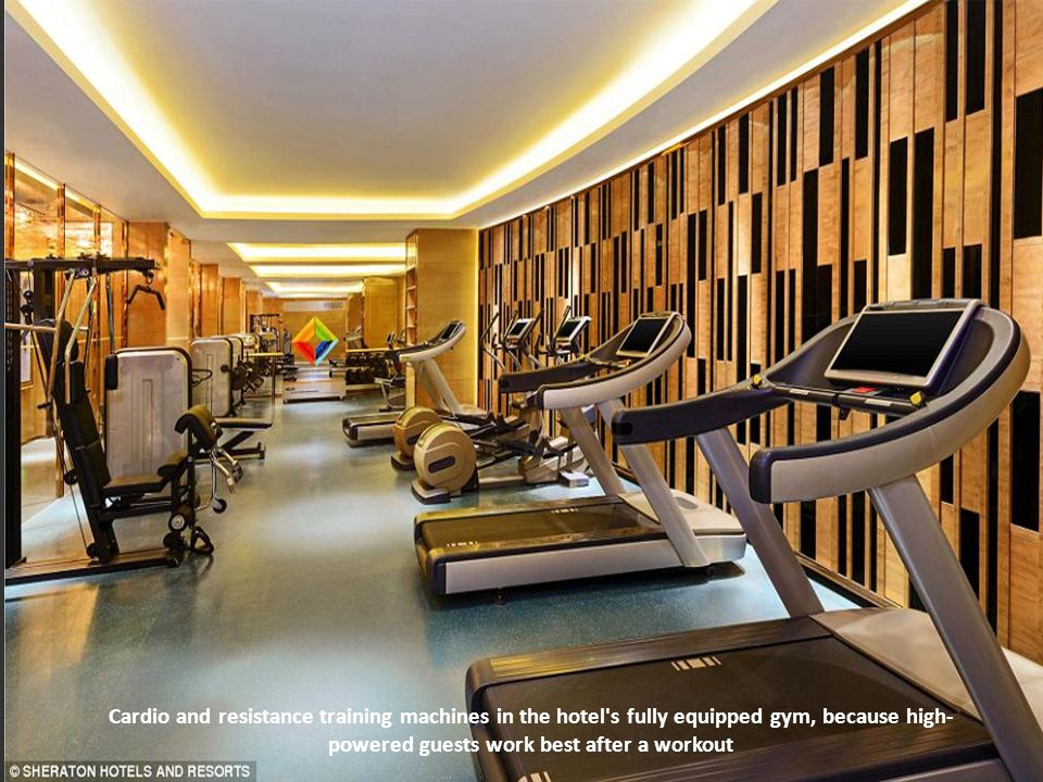 Cardio and resistance training machines in the hotel s fully equipped gym, because high-powered guests work best after a workout