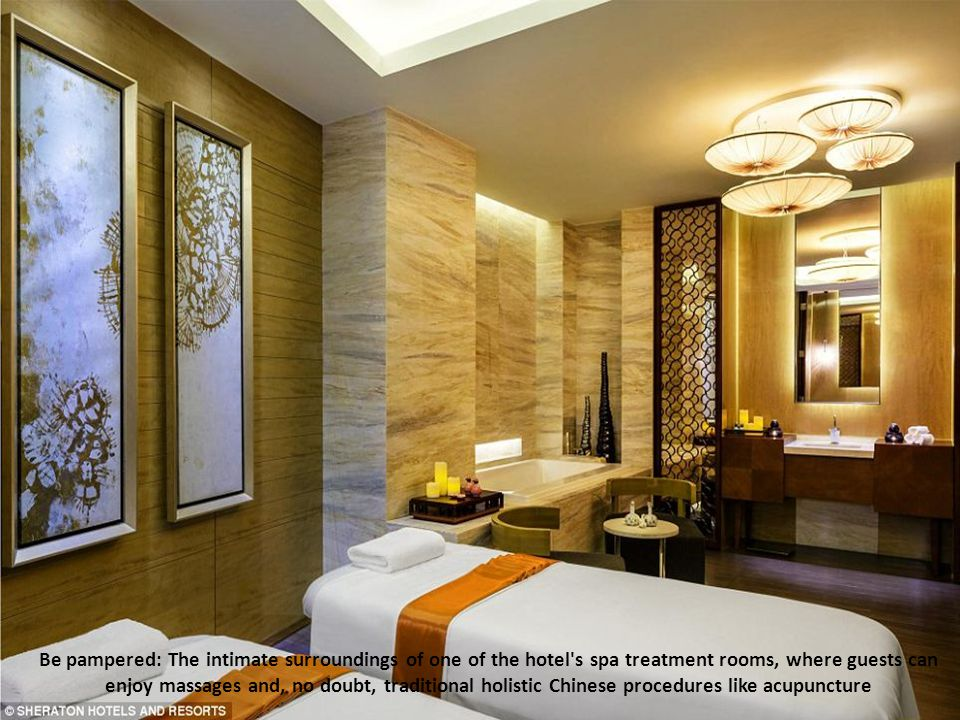 Be pampered: The intimate surroundings of one of the hotel s spa treatment rooms, where guests can enjoy massages and, no doubt, traditional holistic Chinese procedures like acupuncture