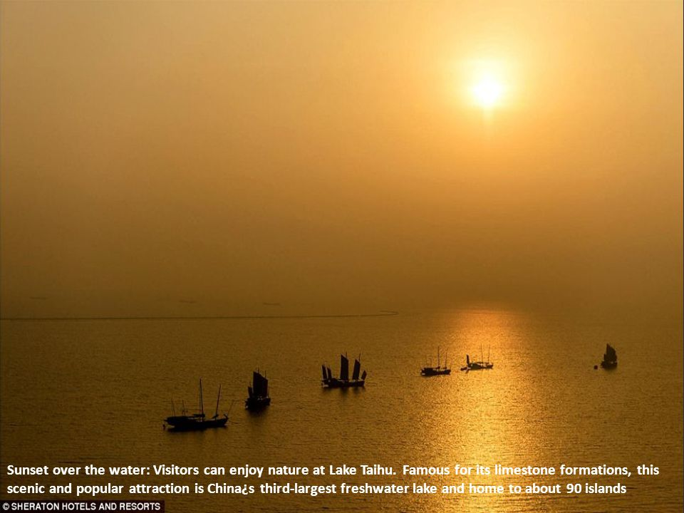 Sunset over the water: Visitors can enjoy nature at Lake Taihu