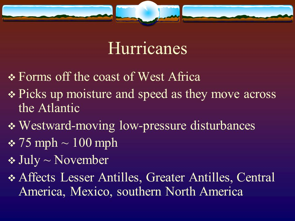 Hurricanes Forms off the coast of West Africa