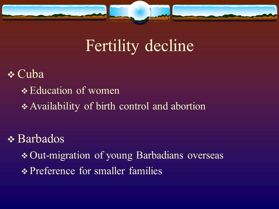 Fertility decline Cuba Barbados Education of women