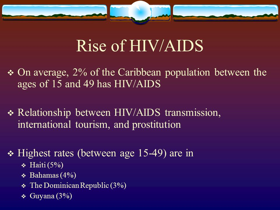 Rise of HIV/AIDS On average, 2% of the Caribbean population between the ages of 15 and 49 has HIV/AIDS.