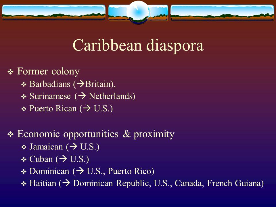 Caribbean diaspora Former colony Economic opportunities & proximity