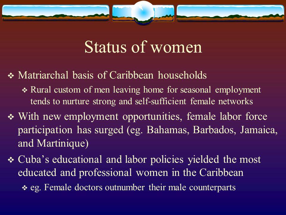 Status of women Matriarchal basis of Caribbean households