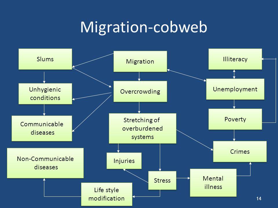Migration-cobweb Slums Illiteracy Migration Unemployment Overcrowding