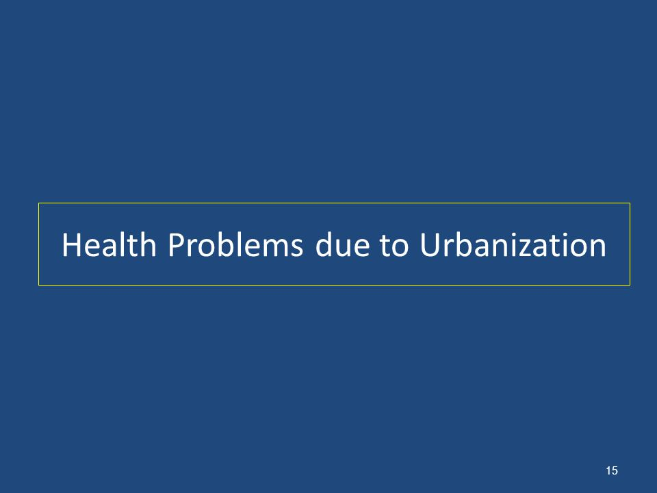 Health Problems due to Urbanization