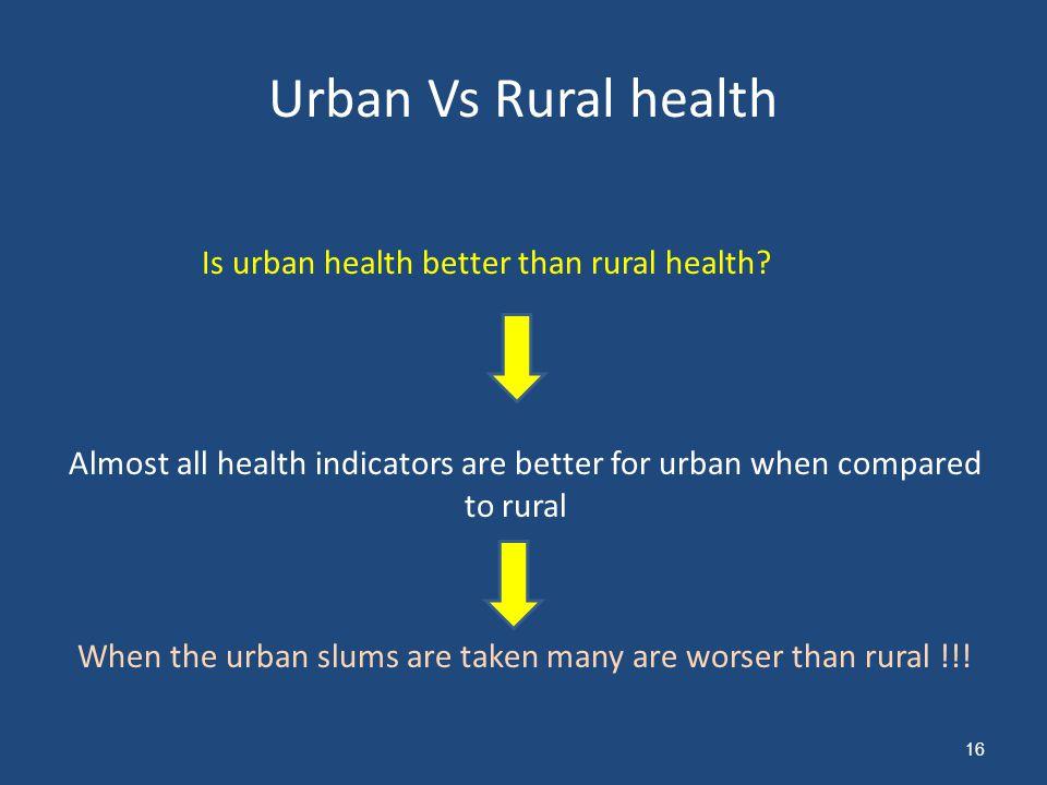 Urban Vs Rural health Is urban health better than rural health