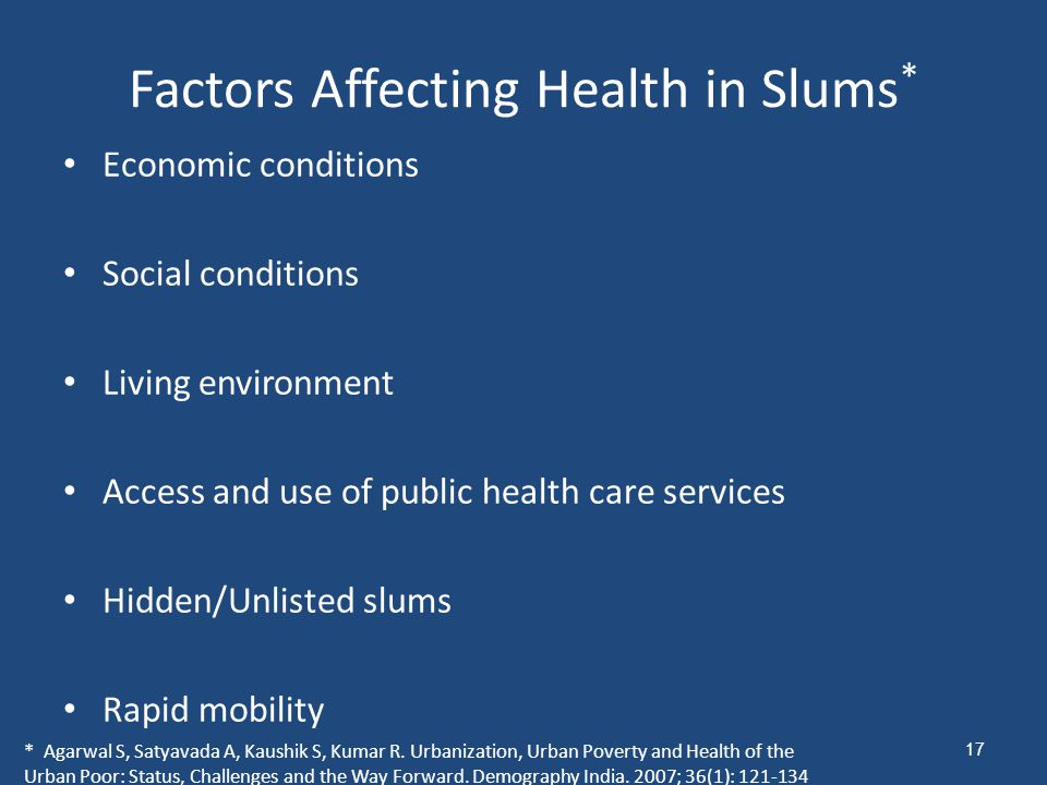 Factors Affecting Health in Slums*