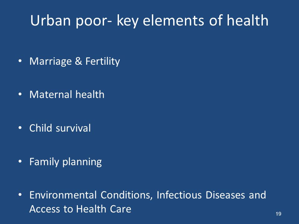 Urban poor- key elements of health