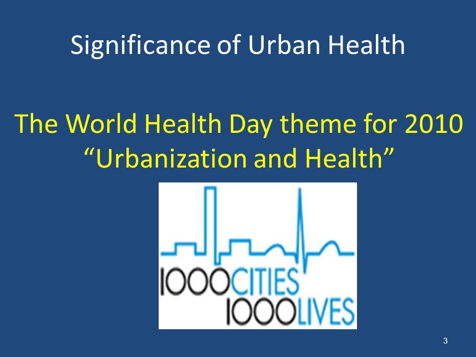 Significance of Urban Health
