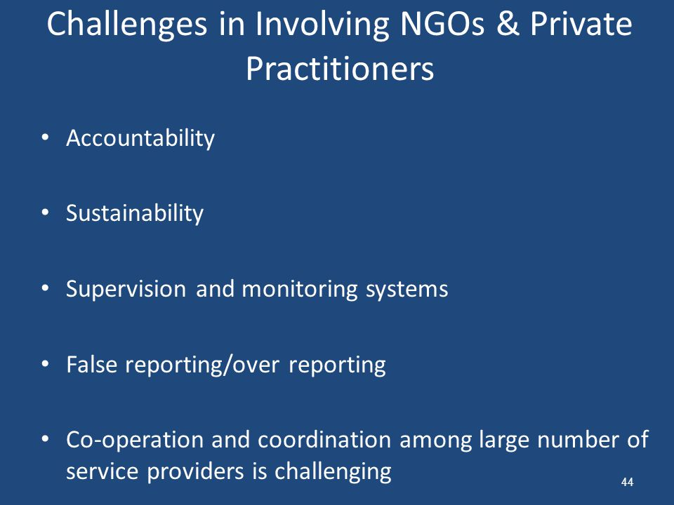 Challenges in Involving NGOs & Private Practitioners