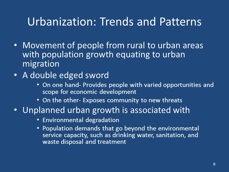 Urbanization: Trends and Patterns