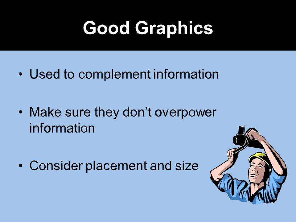Good Graphics Used to complement information