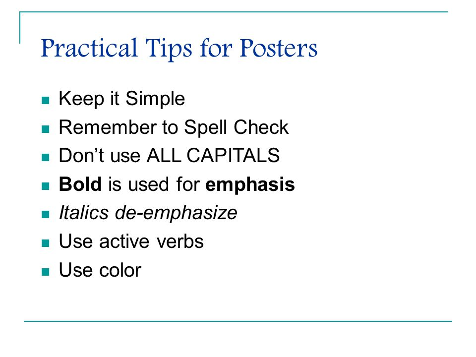 Practical Tips for Posters