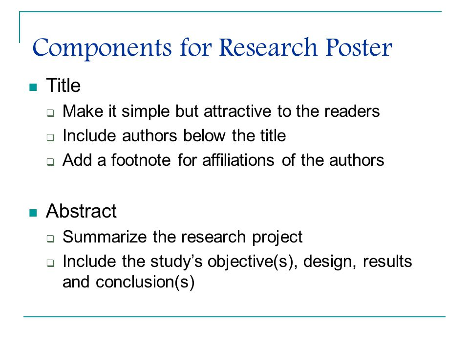 Components for Research Poster