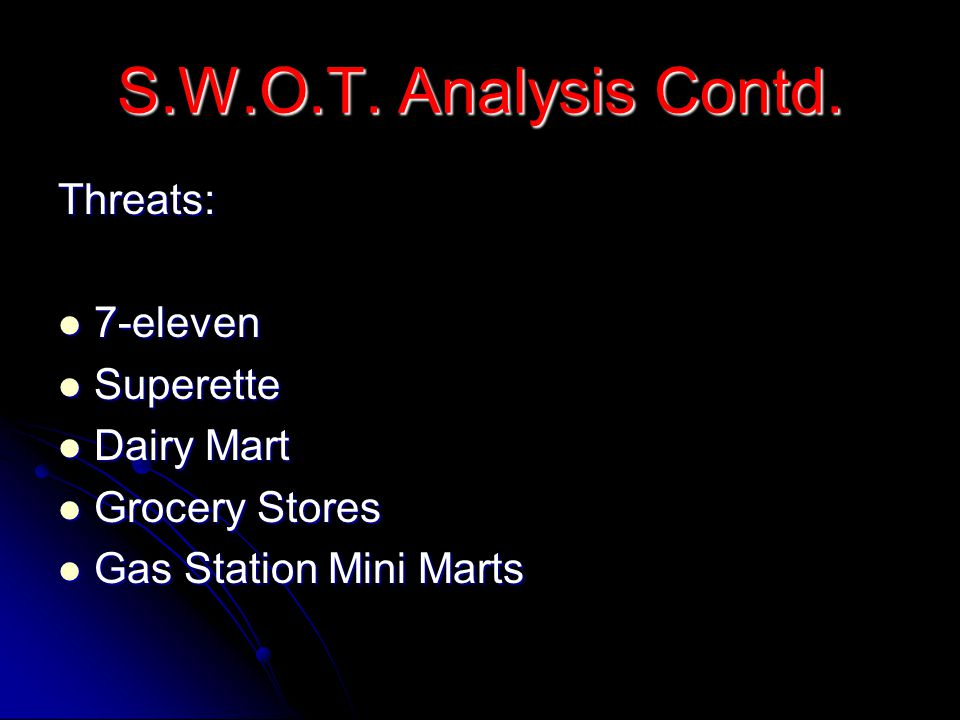 S.W.O.T. Analysis Contd. Threats: 7-eleven Superette Dairy Mart