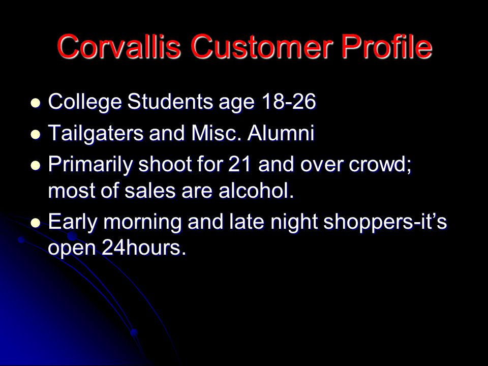 Corvallis Customer Profile
