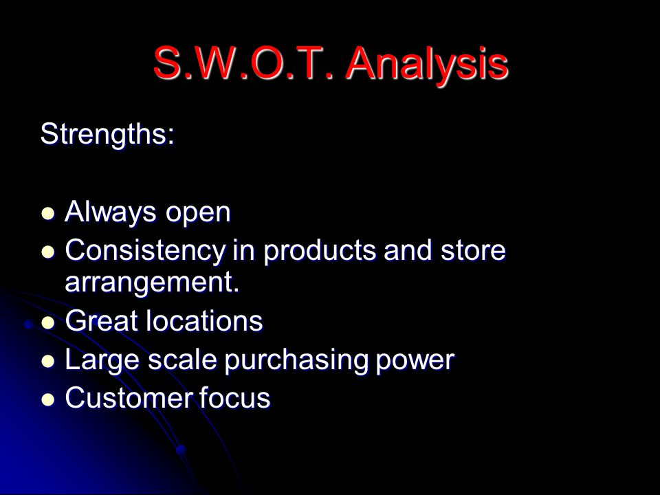 S.W.O.T. Analysis Strengths: Always open