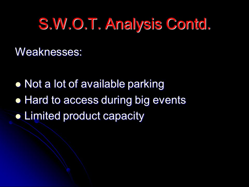 S.W.O.T. Analysis Contd. Weaknesses: Not a lot of available parking