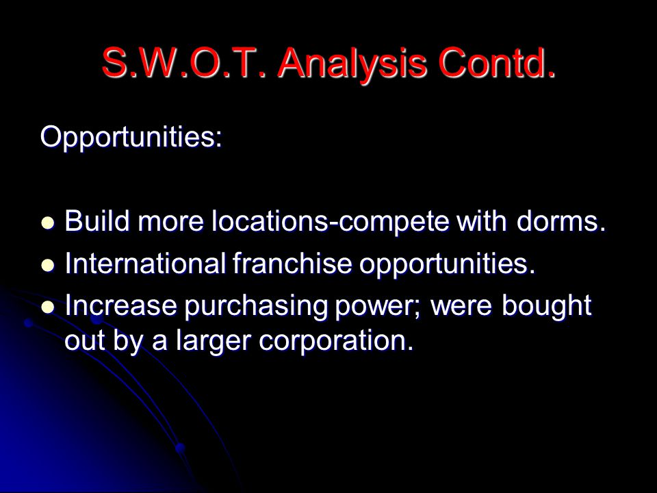 S.W.O.T. Analysis Contd. Opportunities: