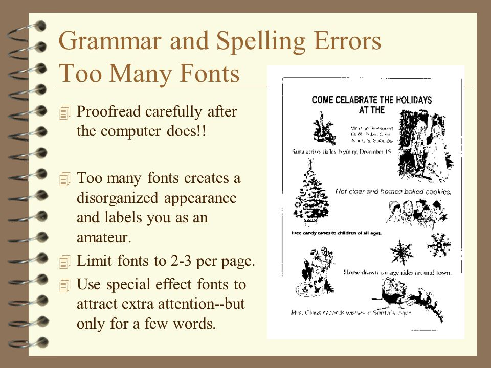Grammar and Spelling Errors Too Many Fonts