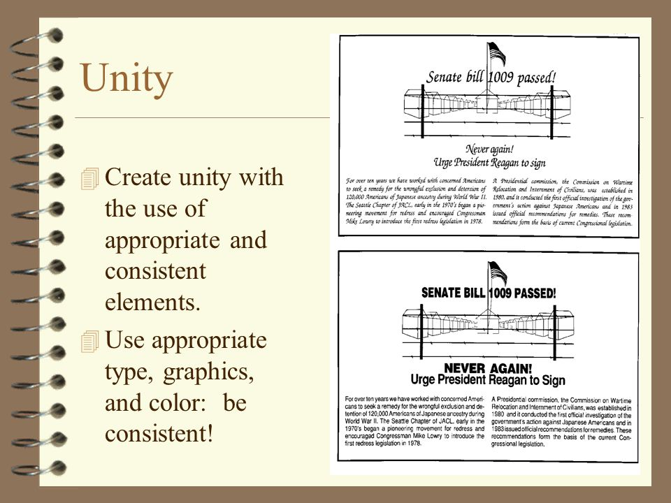 Unity Create unity with the use of appropriate and consistent elements.