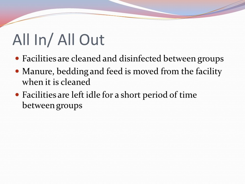 All In/ All Out Facilities are cleaned and disinfected between groups