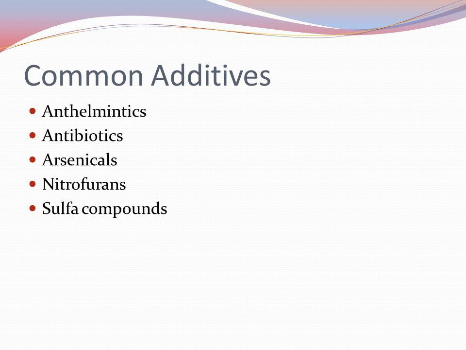 Common Additives Anthelmintics Antibiotics Arsenicals Nitrofurans