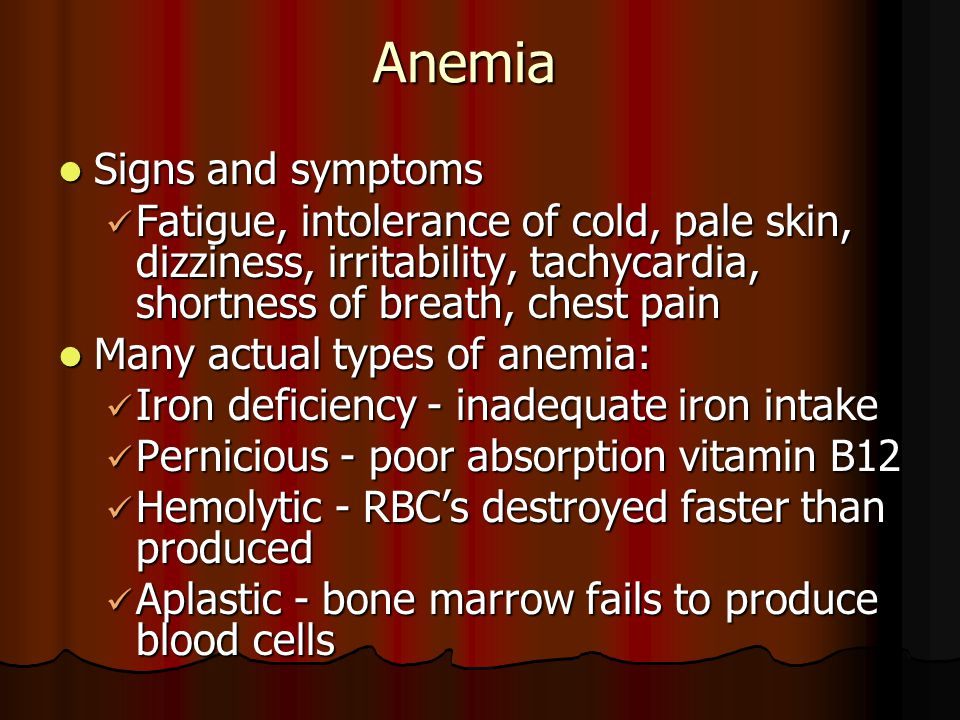 Anemia Signs and symptoms