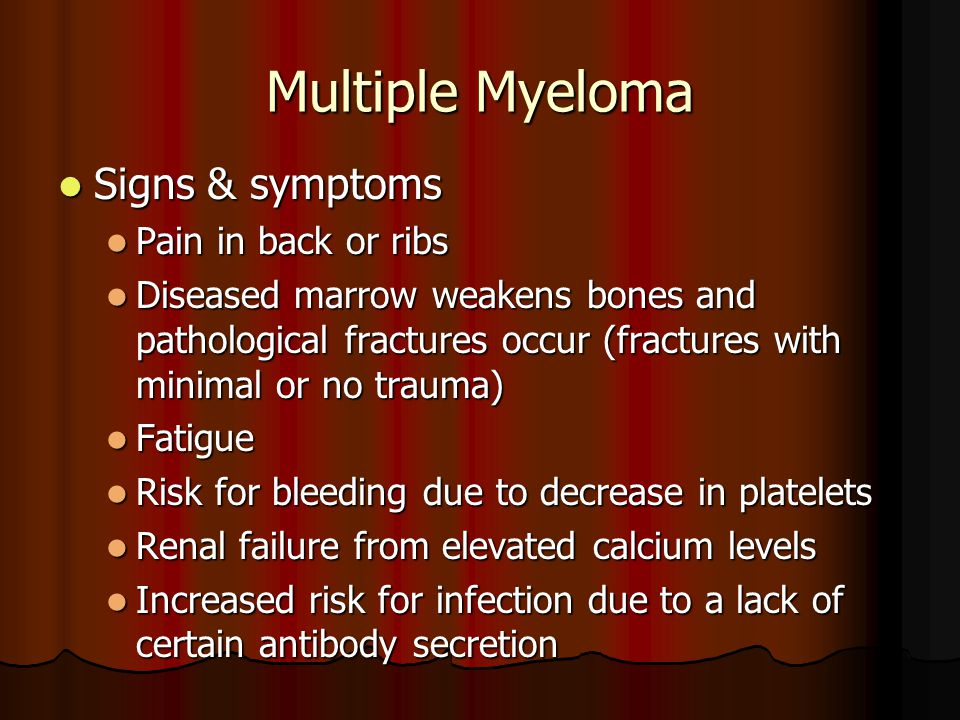 Multiple Myeloma Signs & symptoms Pain in back or ribs