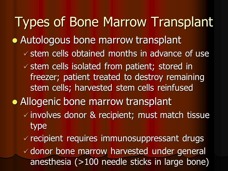 Types of Bone Marrow Transplant