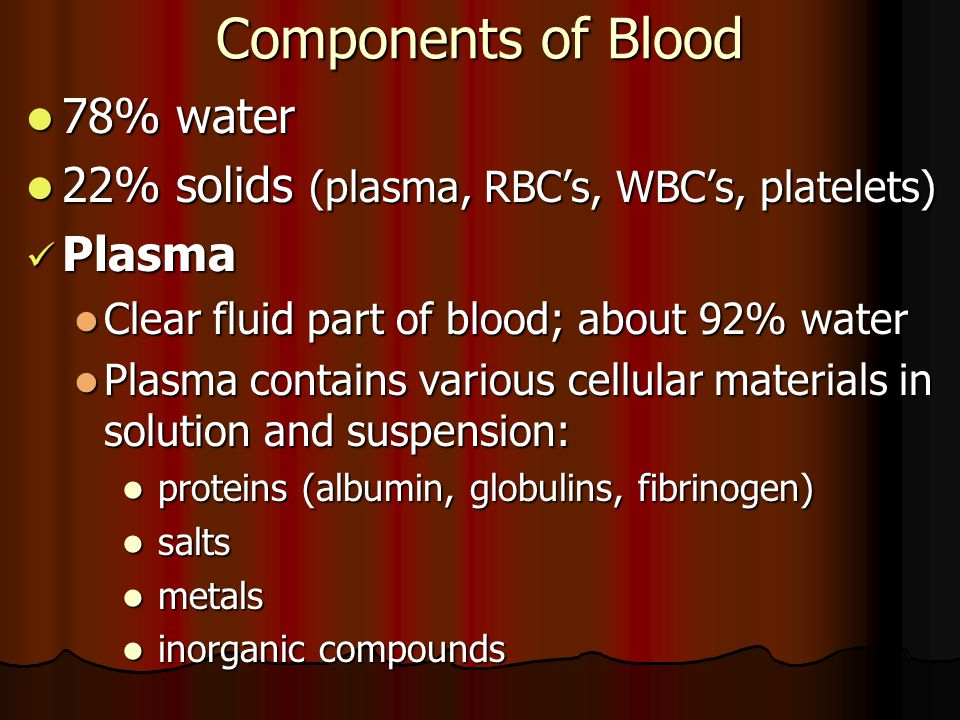 Components of Blood 78% water