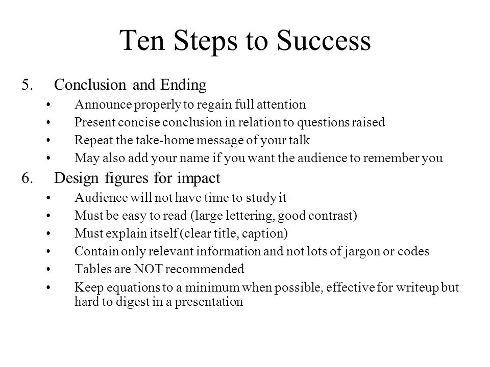 Ten Steps to Success Conclusion and Ending Design figures for impact